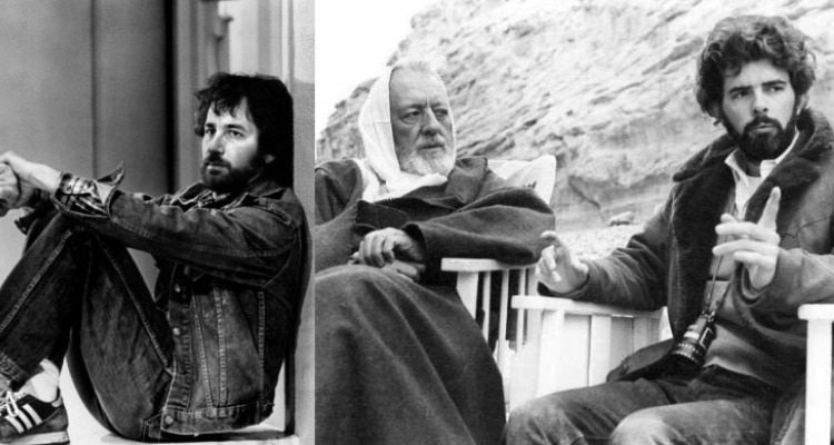 Spielberg at rest, and George Lucas with Alec Guinness on the set of Star War. Courtesy of: Universal and Fox.