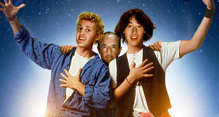 Keanu Reeves, Alex Winter, and George Carlin in Bill & Ted's Excellent Adventure (1989). Courtesy of: StudioCanal.
